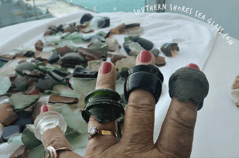 bottle necks collected on Akaroa beach in New Zealand