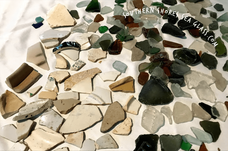 Sea glass and sea pottery from Akaroa in New Zealand