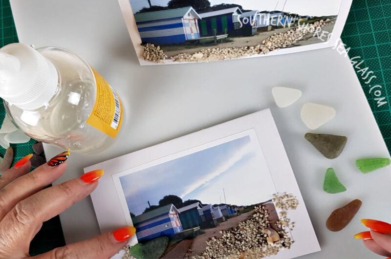 glue sea glass to beach card