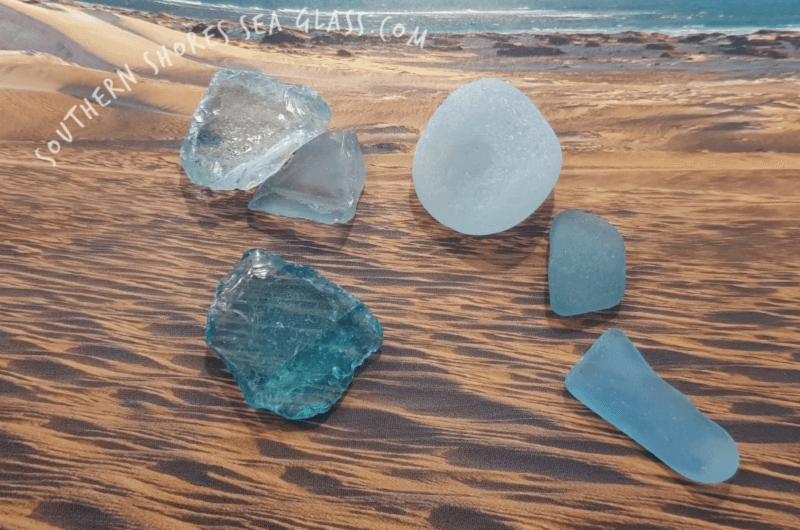 seafoam and aqua colored sea glass pieces