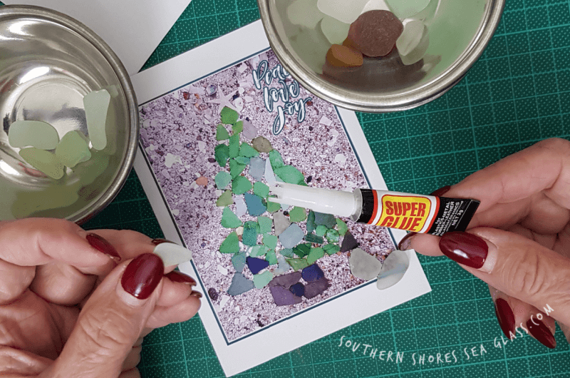 glue sea glass to card
