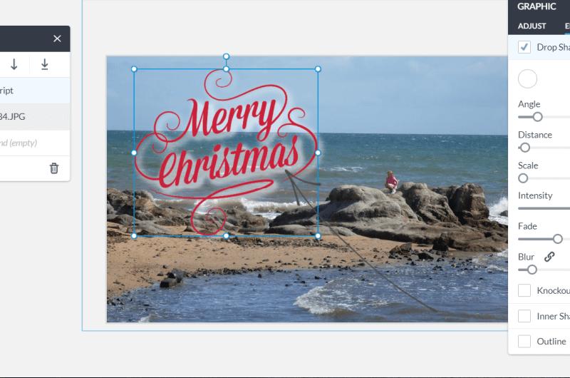 editing beach themed christmas card