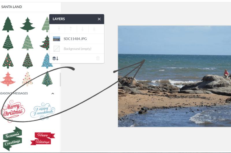 choose text for beach themed christmas card