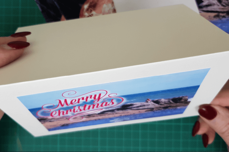 adhere photo to beach themed christmas cards