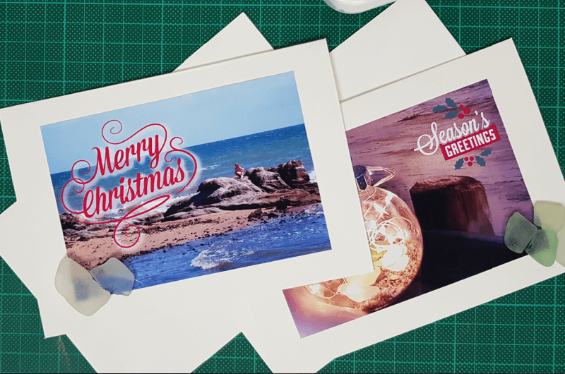 beach themed christmas cards with sea glass