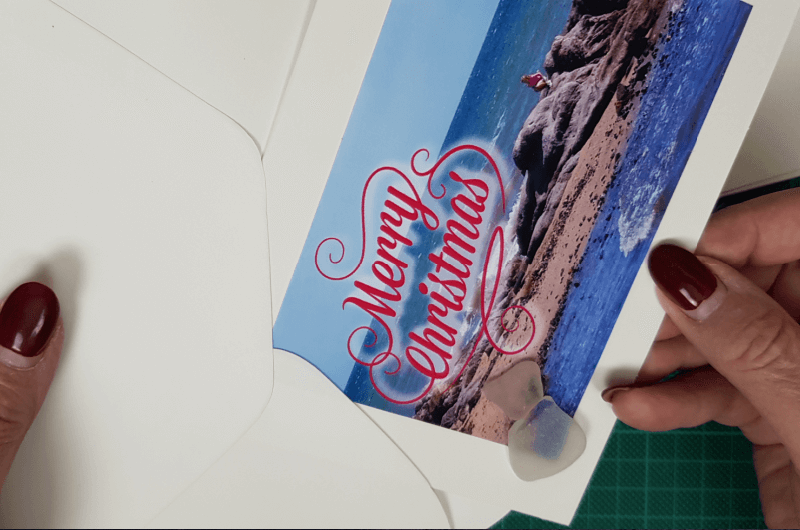 fit beach themed christmas cards into envelope