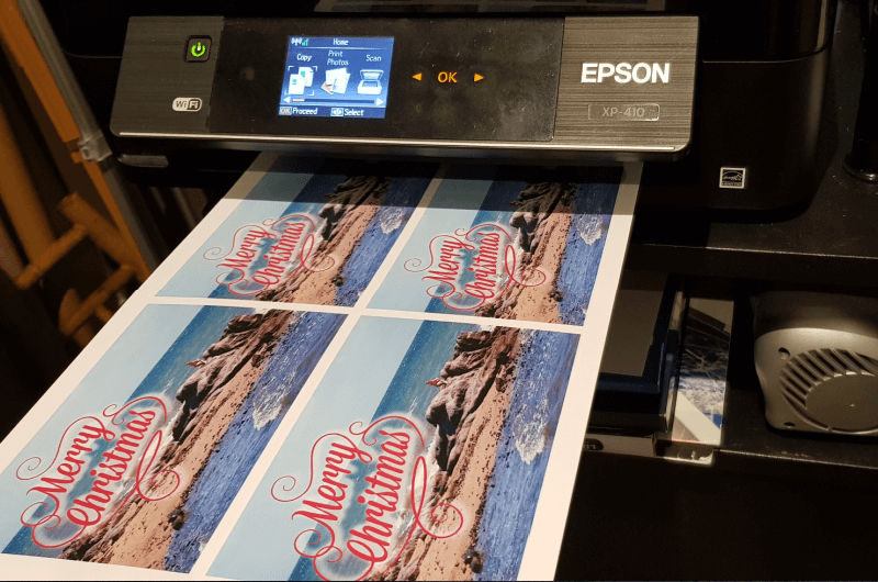 printing beach themed christmas cards