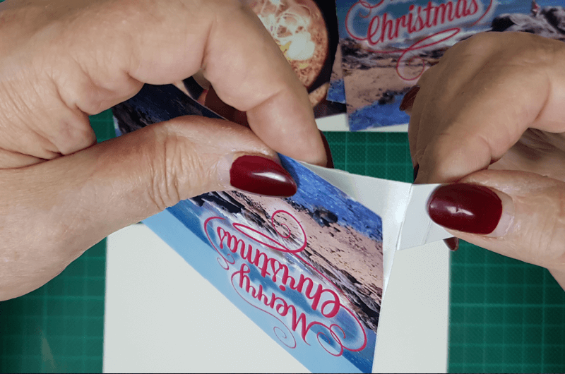 remove adhesive backing on beach themed christmas cards