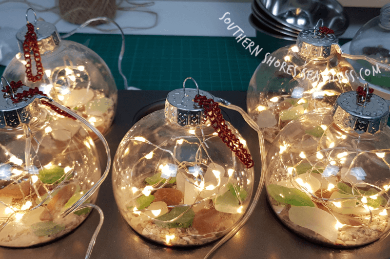 adding hanging chain to christmas tree bauble