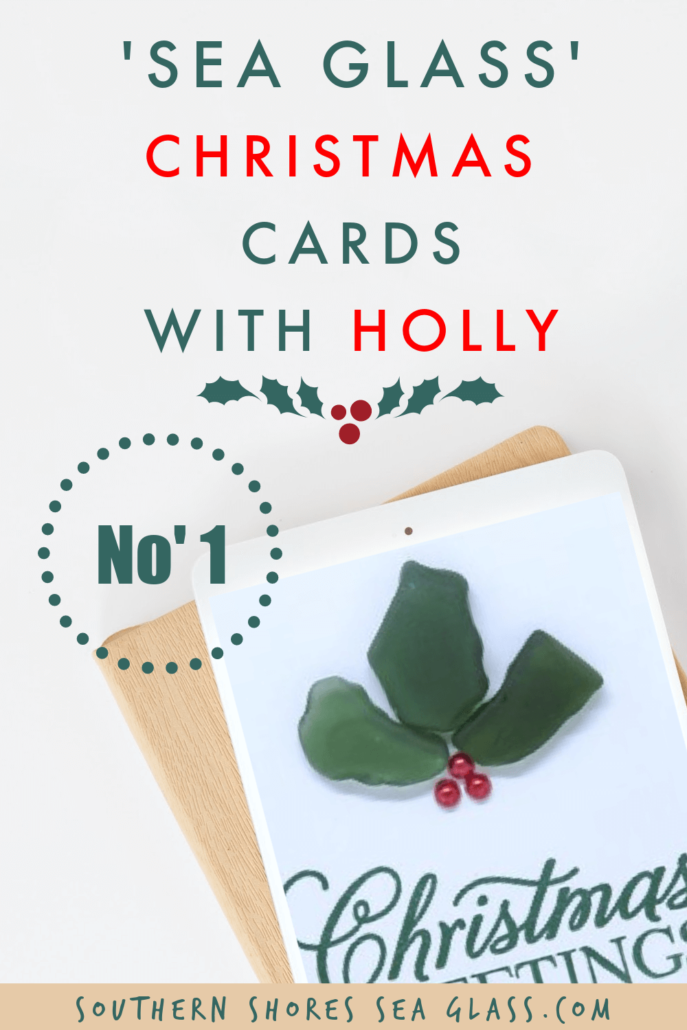 pinterest pin for the Christmas cards with Holly site page