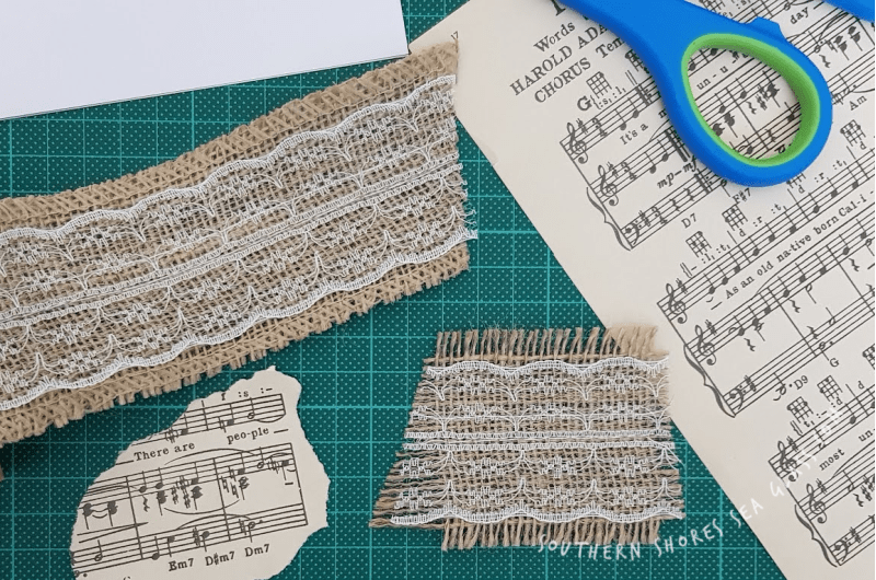 layering materials for the Christmas Holly card