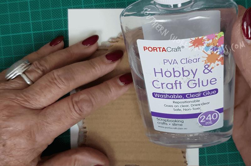 hobby glue used to create Christmas tree card