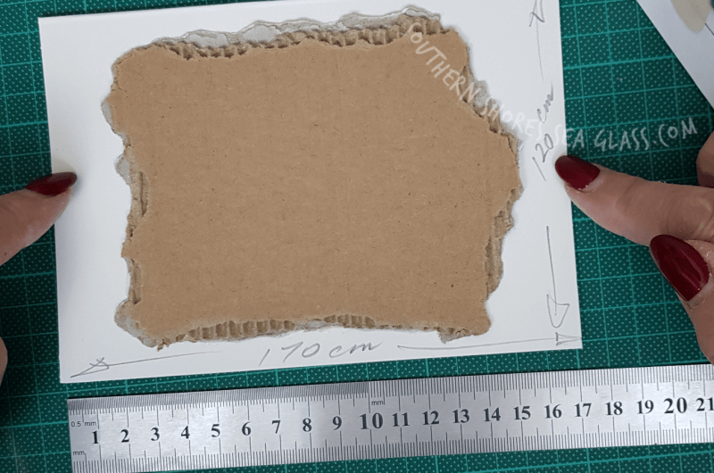 fit cardboard to card stock card