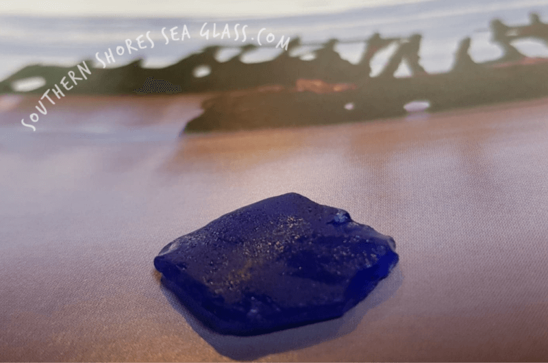 cobalt blue colored sea glass piece