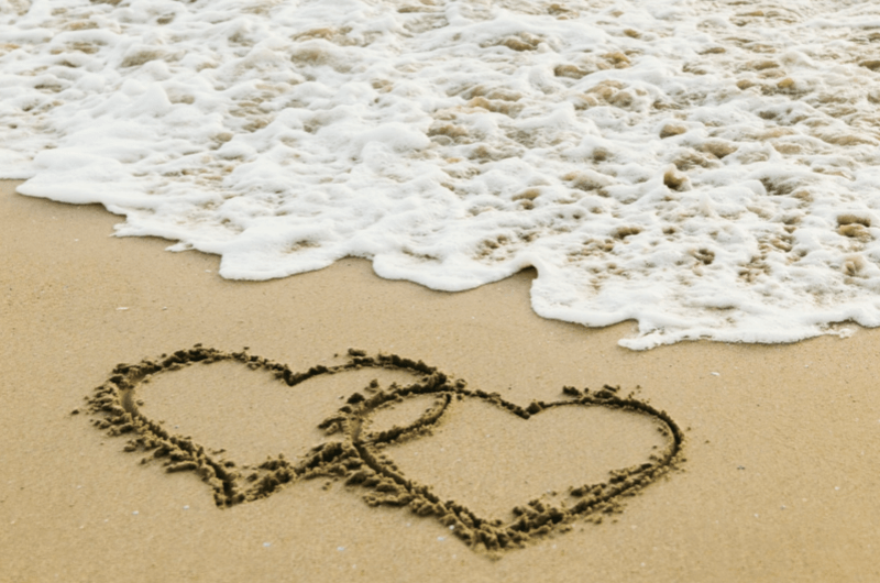 free image love hearts in the sand
