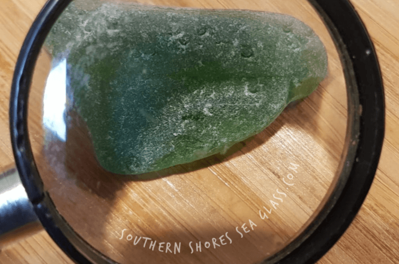 Authentic sea glass etched surface and 'c' markings