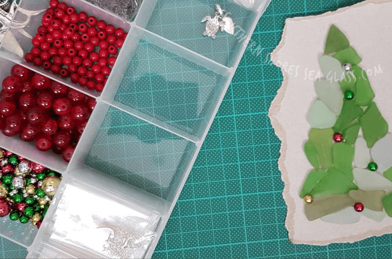 sea glass christmas tree card craft ideas  materials