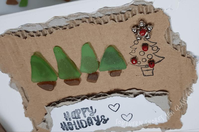 beaded up Christmas tree card