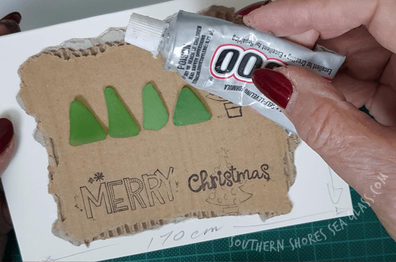 glue sea glass to cardboard
