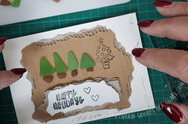 one of the semi completed christmas tree card craft ideas