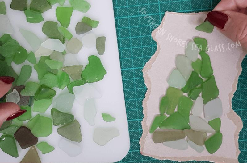 green sea glass pieces