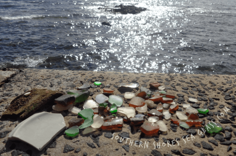 sea glass and sea pottery collected at Frankston