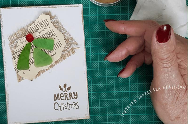 Christmas Holly card with gilded edges