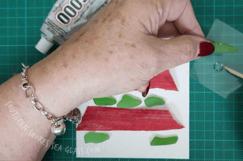e6000 glue used to glue the sea glass to the christmas card