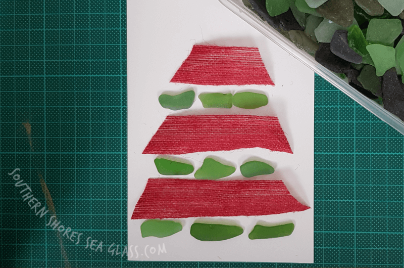 sea glass pieces for christmas card christmas tree craft idea