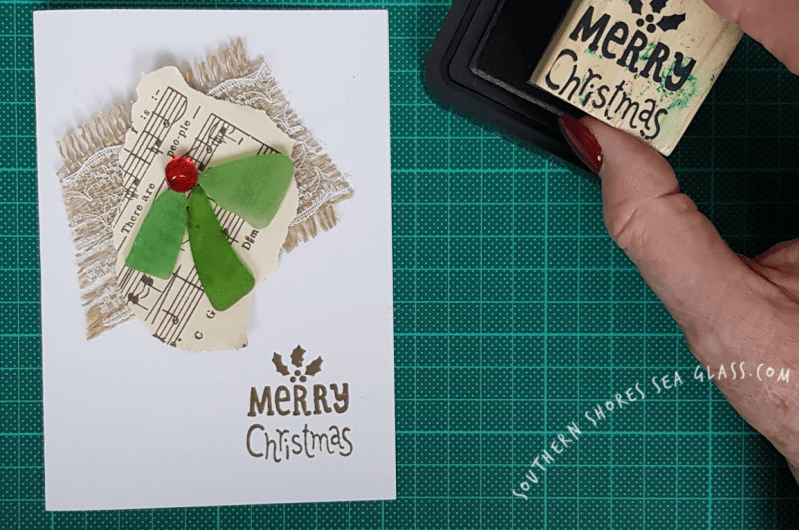 Christmas Holly card with Merry Christmas Stamp
