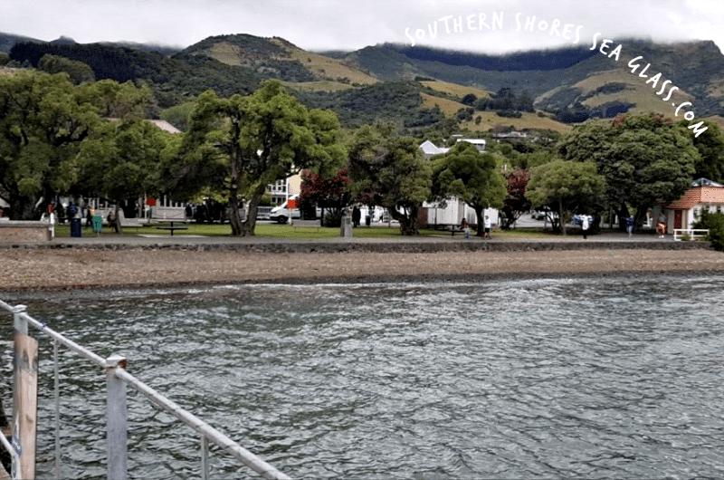 rocky foreshore at Akaroa in New Zealand