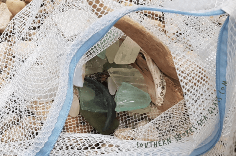 laundry bag used to collect sea glass