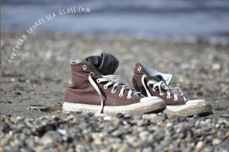 old sneakers to collect sea glass