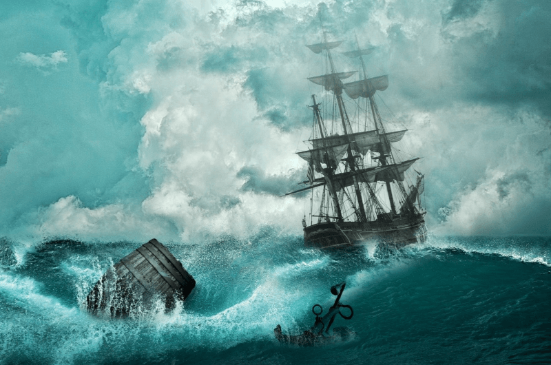 olden day ship being tossed by storm